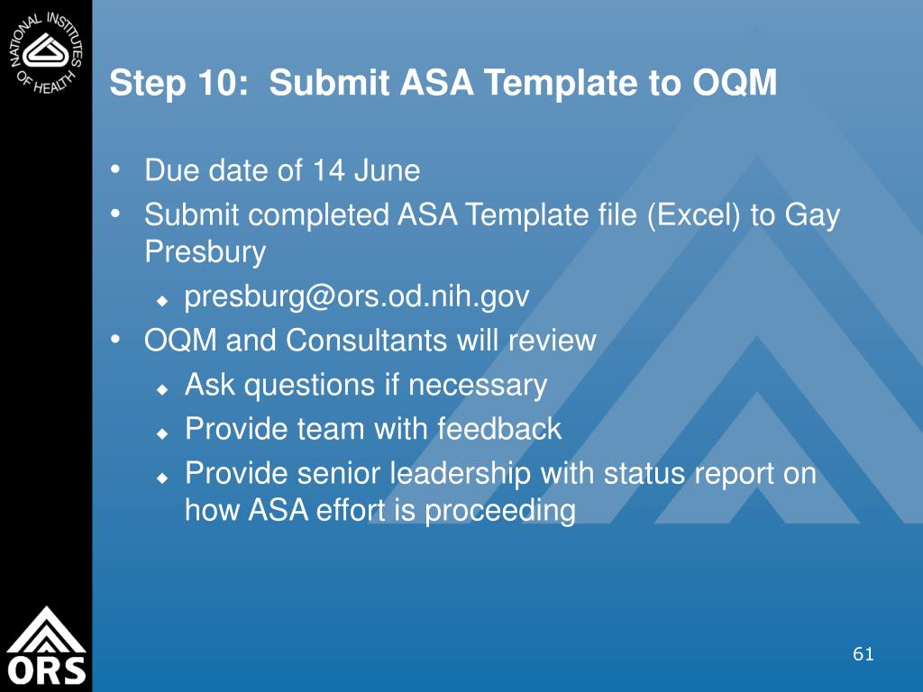Step 10:  Submit ASA Template to OQM