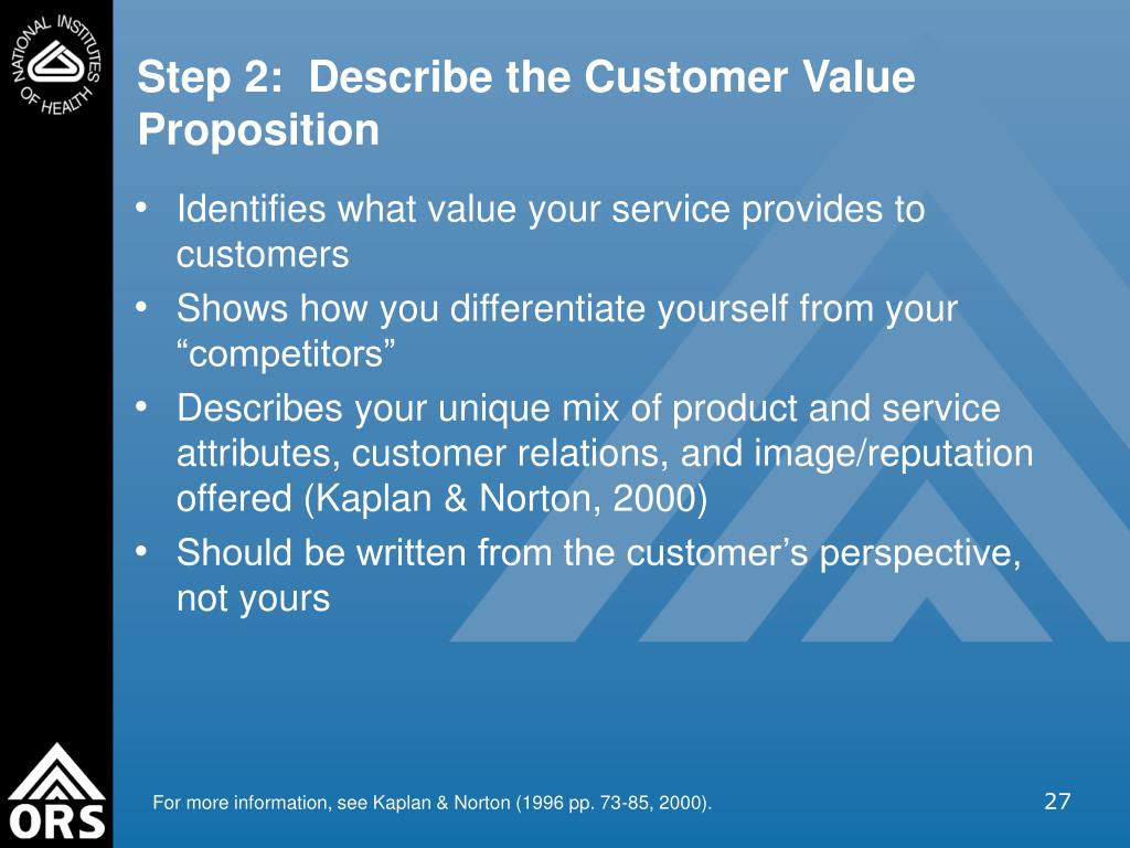 Step 2:  Describe the Customer Value Proposition