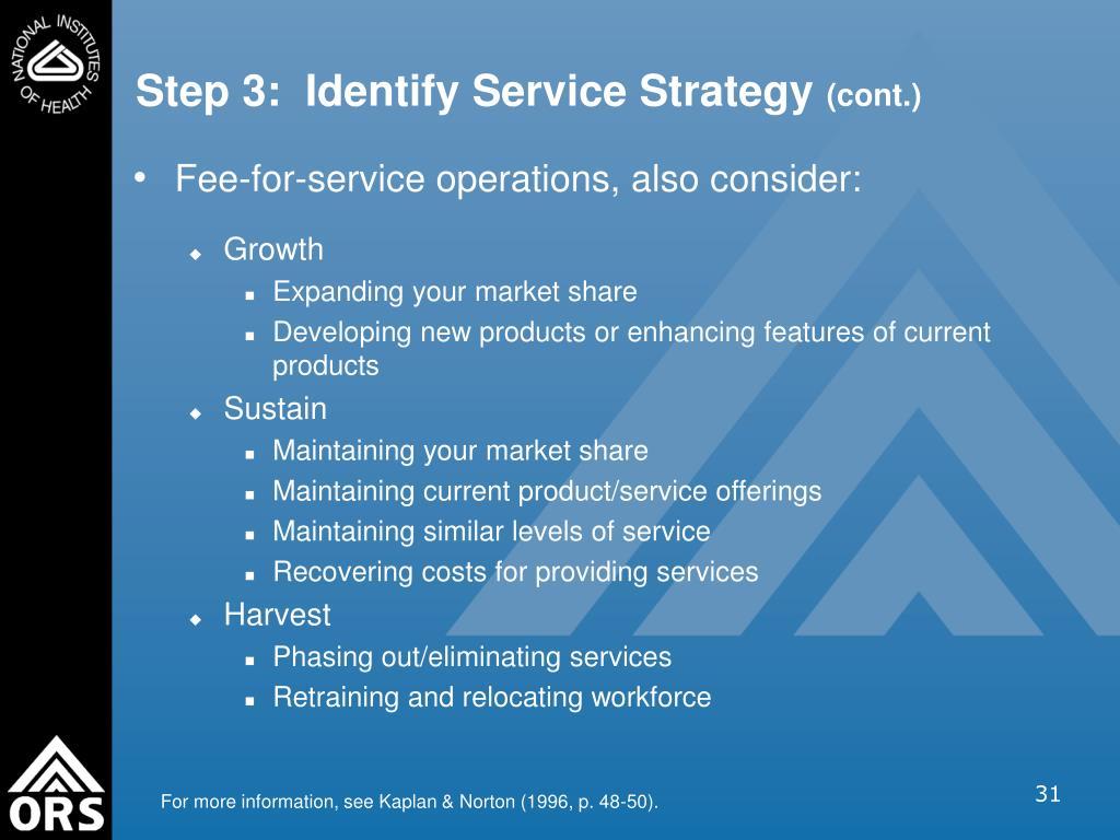 Step 3:  Identify Service Strategy