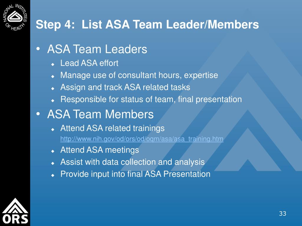 Step 4:  List ASA Team Leader/Members