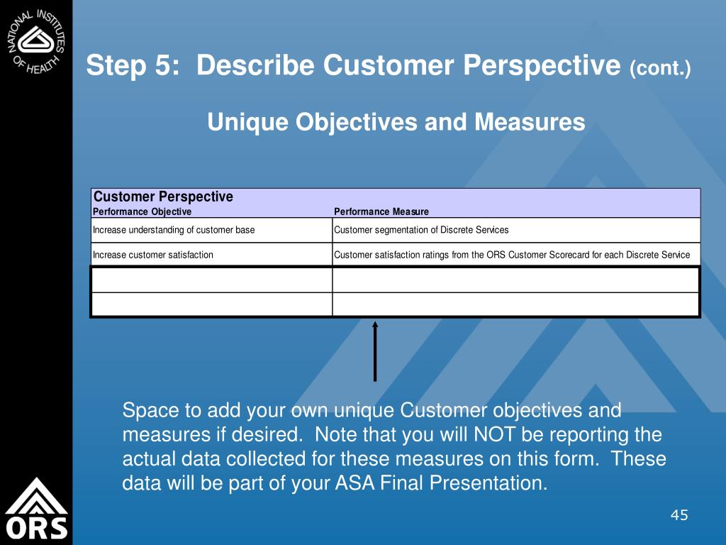 Step 5:  Describe Customer Perspective