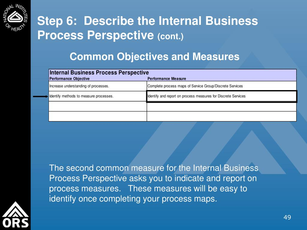 Step 6:  Describe the Internal Business Process Perspective