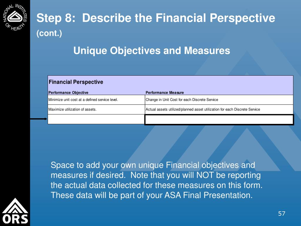 Step 8:  Describe the Financial Perspective
