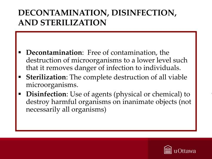 DECONTAMINATION, DISINFECTION, AND STERILIZATION