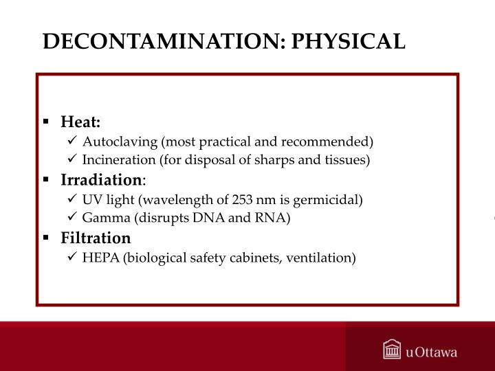 DECONTAMINATION: PHYSICAL