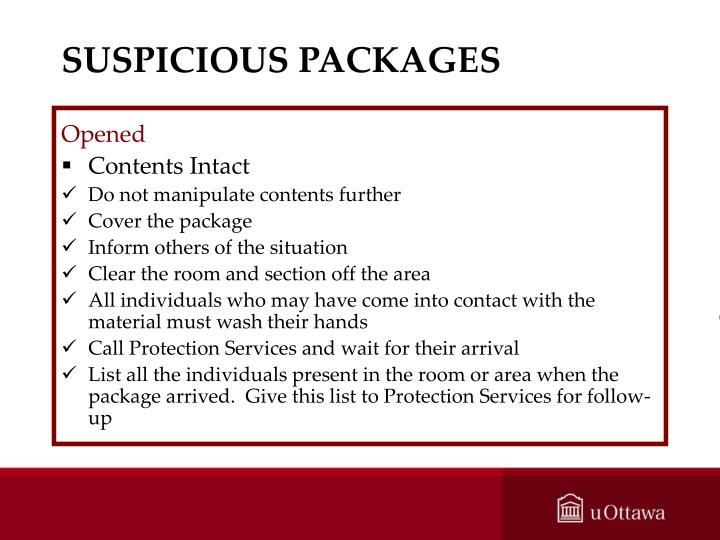 SUSPICIOUS PACKAGES