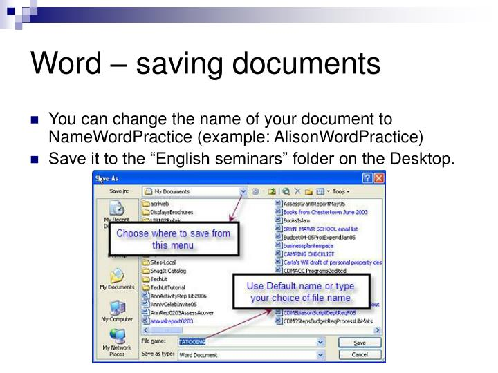 Word – saving documents