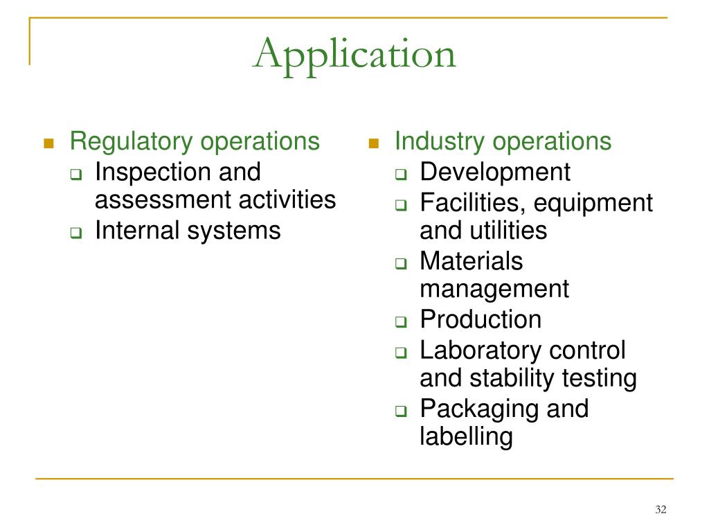 Regulatory operations