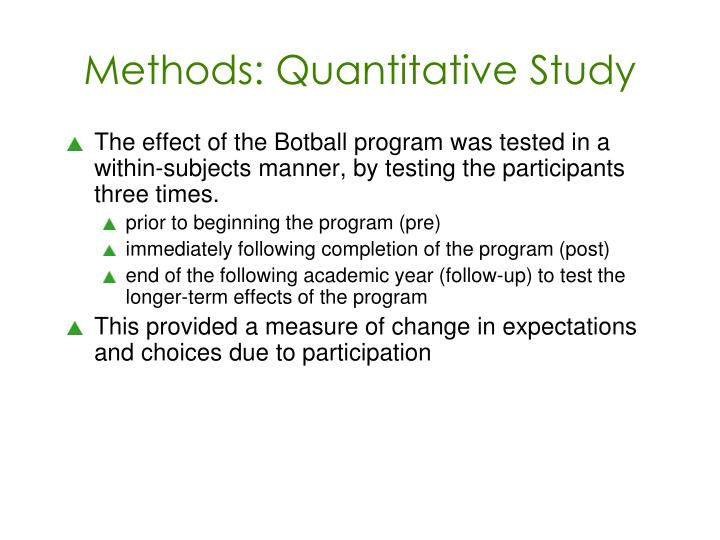 Methods: Quantitative Study