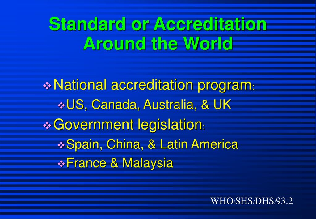 Standard or Accreditation Around the World