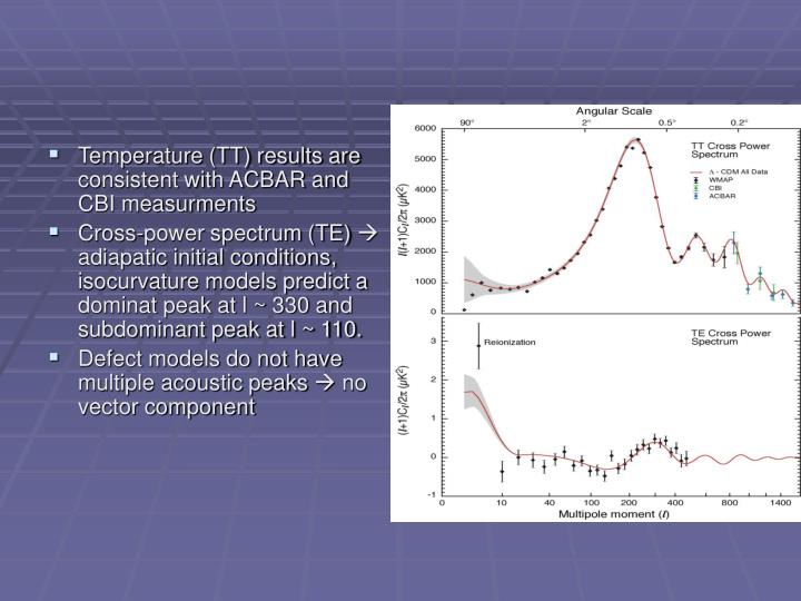 Temperature (TT) results are consistent with ACBAR and CBI measurments
