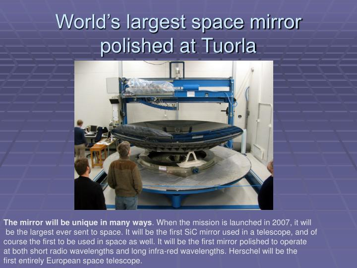 World's largest space mirror polished at Tuorla