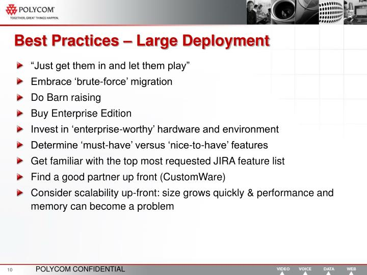 Best Practices – Large Deployment