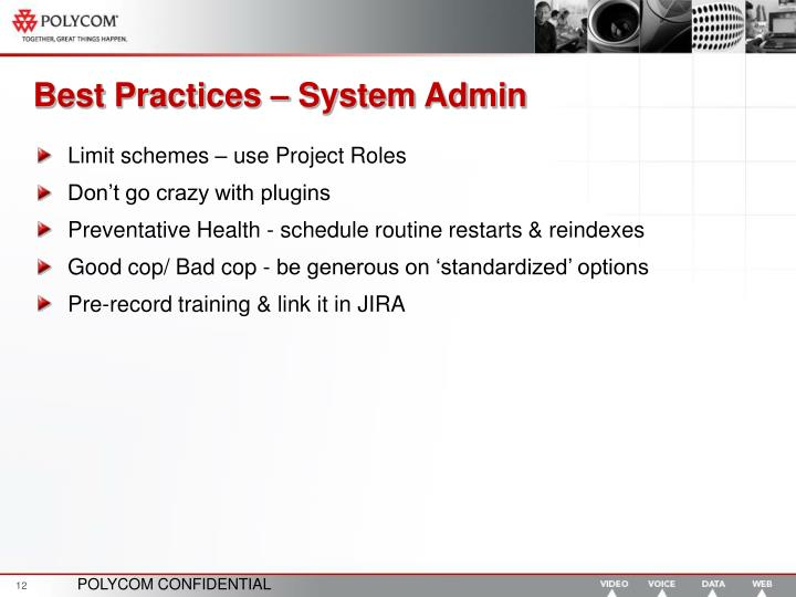 Best Practices – System Admin