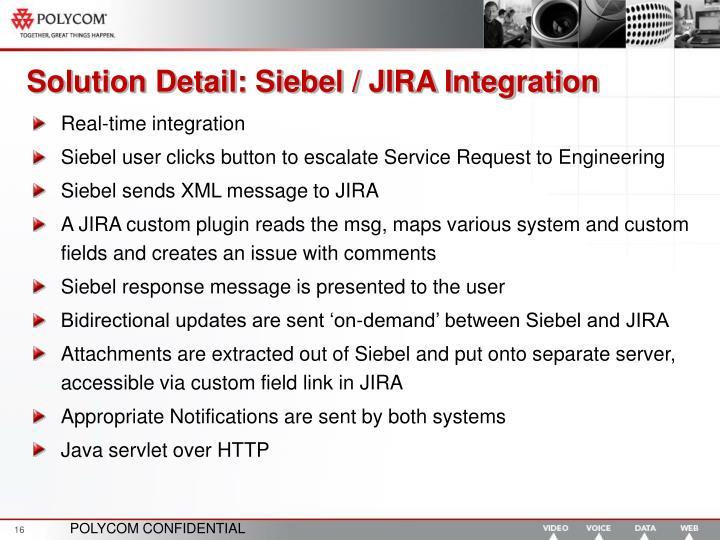 Solution Detail: Siebel / JIRA Integration