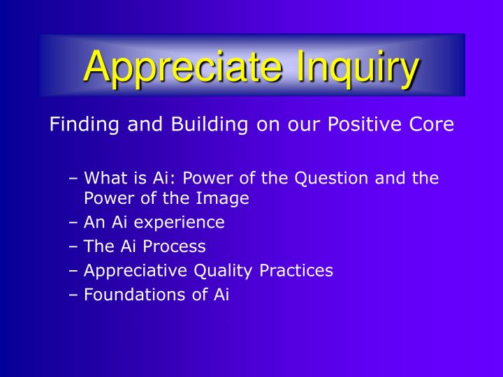 appreciative inquiry The david l cooperrider center for appreciative inquiry offers educational programs, consulting services, workshops and resources for appreciative inquiry and positive organizational development.