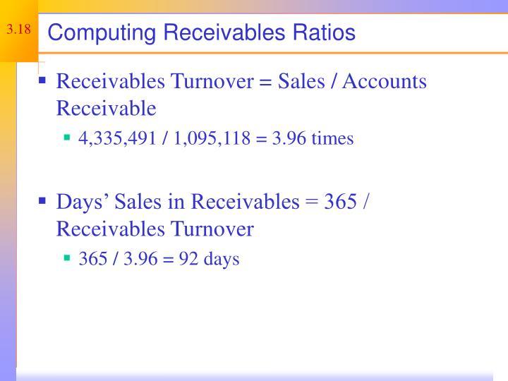 Computing Receivables Ratios