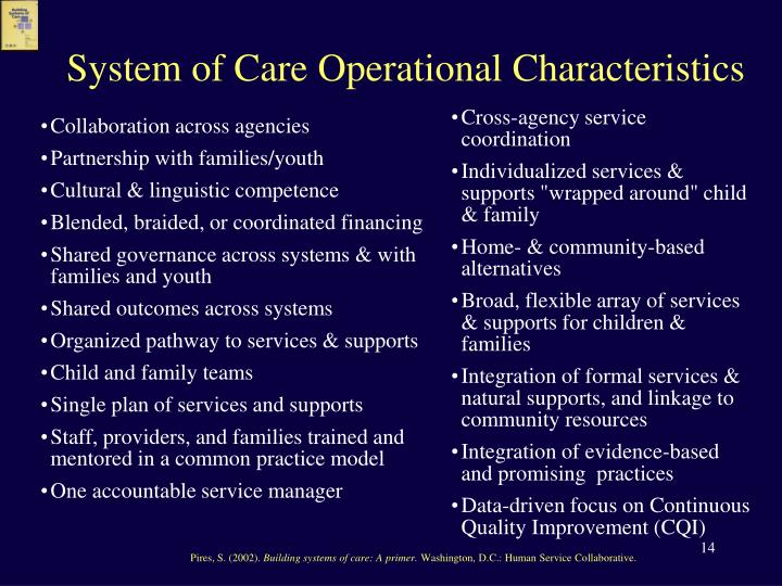 System of Care Operational Characteristics
