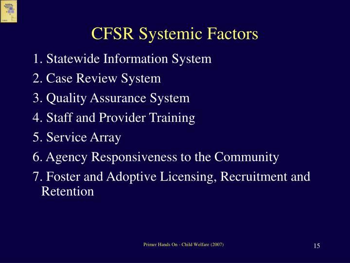 CFSR Systemic Factors