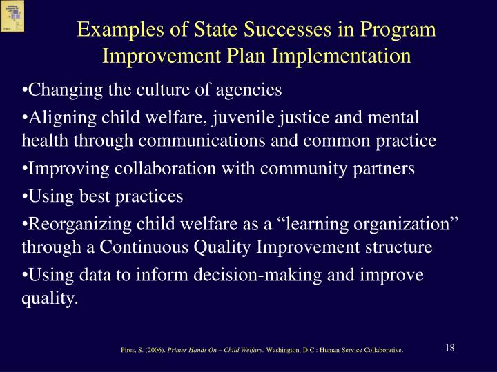 Examples of State Successes in Program Improvement Plan Implementation