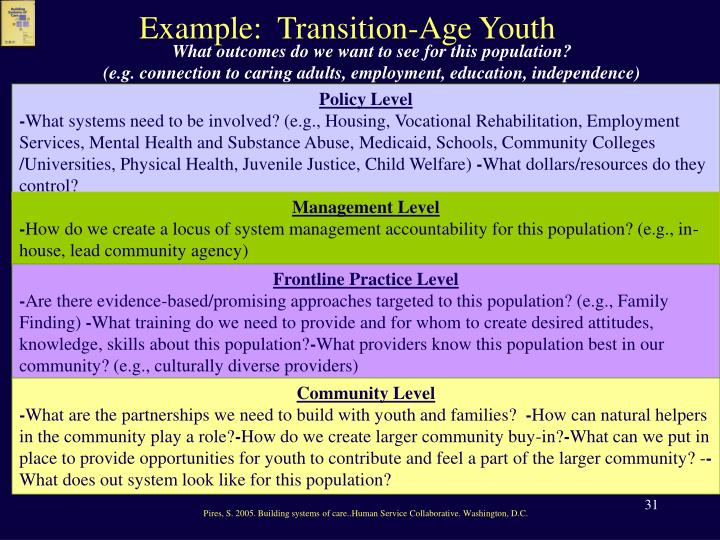 Example:  Transition-Age Youth