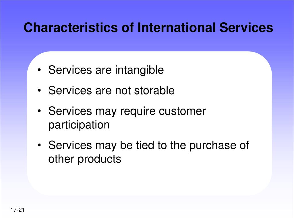 Characteristics of International Services