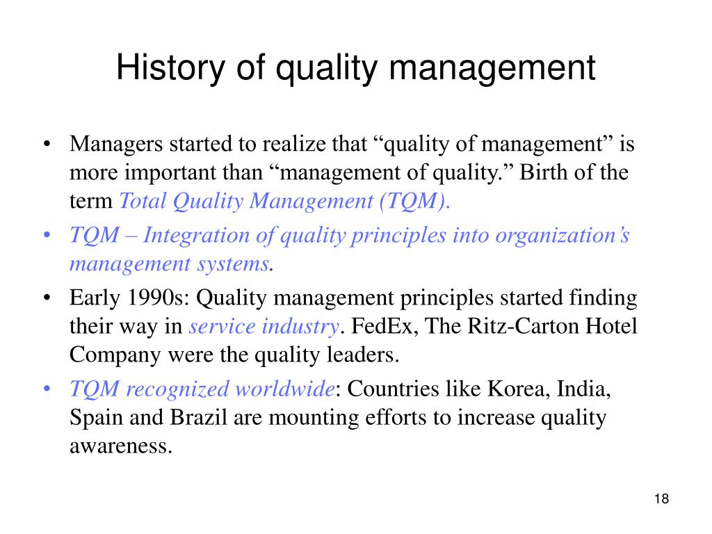 History of quality management