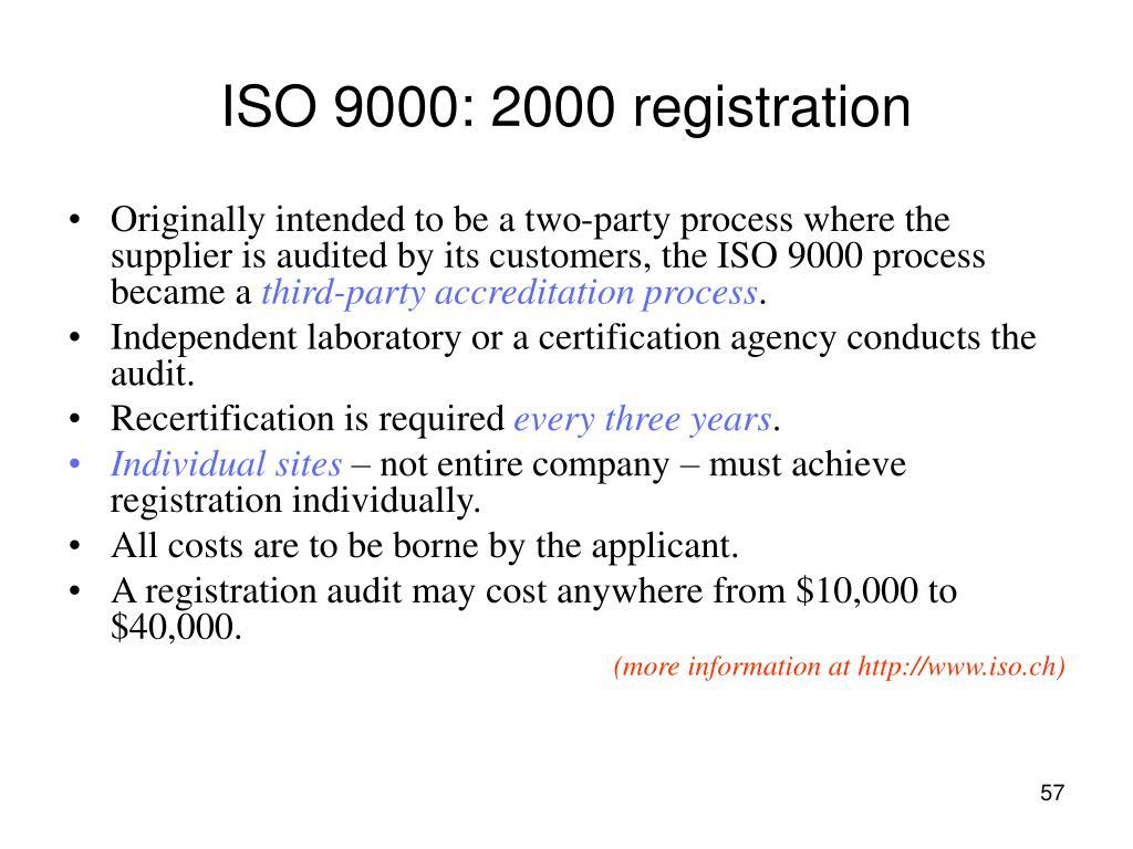ISO 9000: 2000 registration