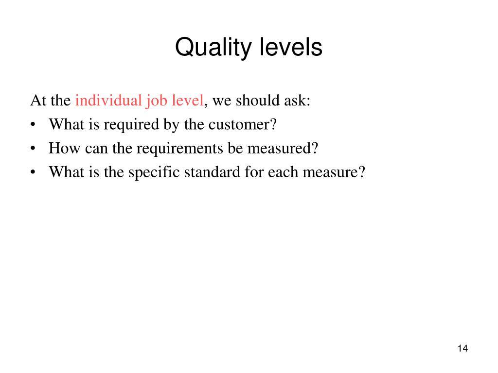 Quality levels