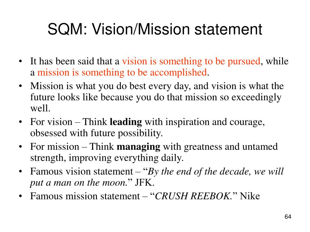 SQM: Vision/Mission statement