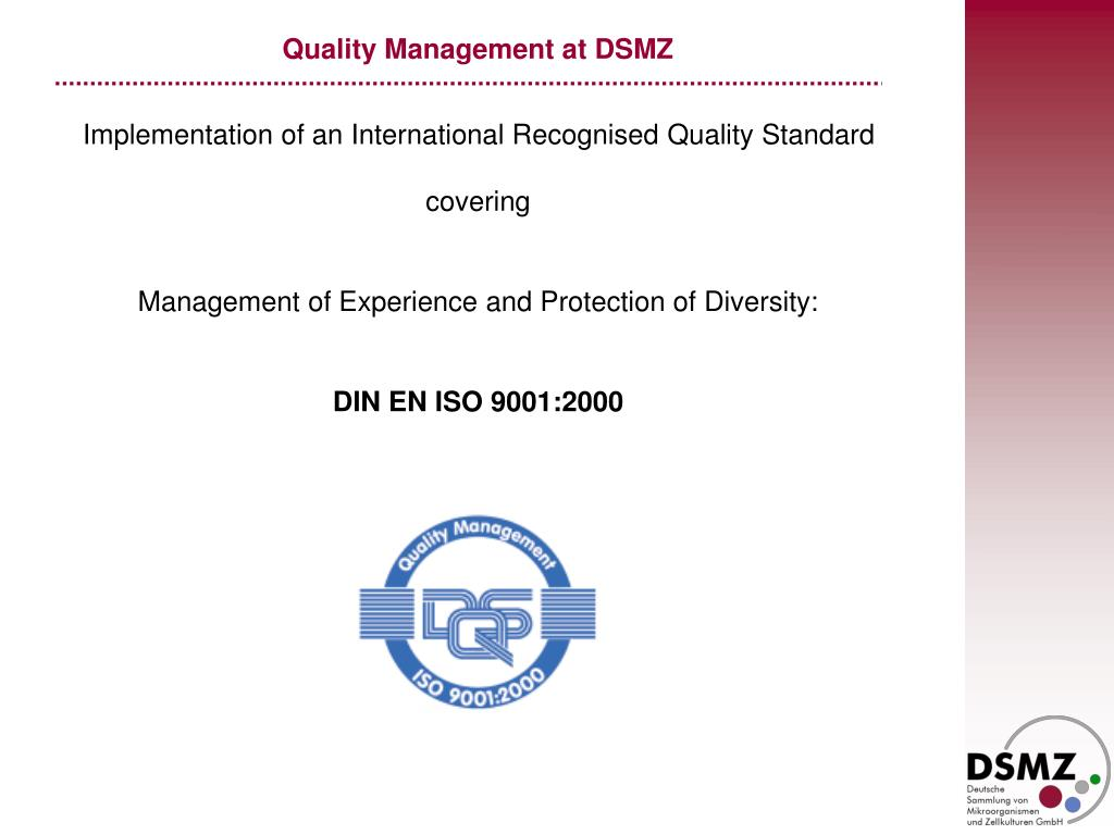 Quality Management at DSMZ