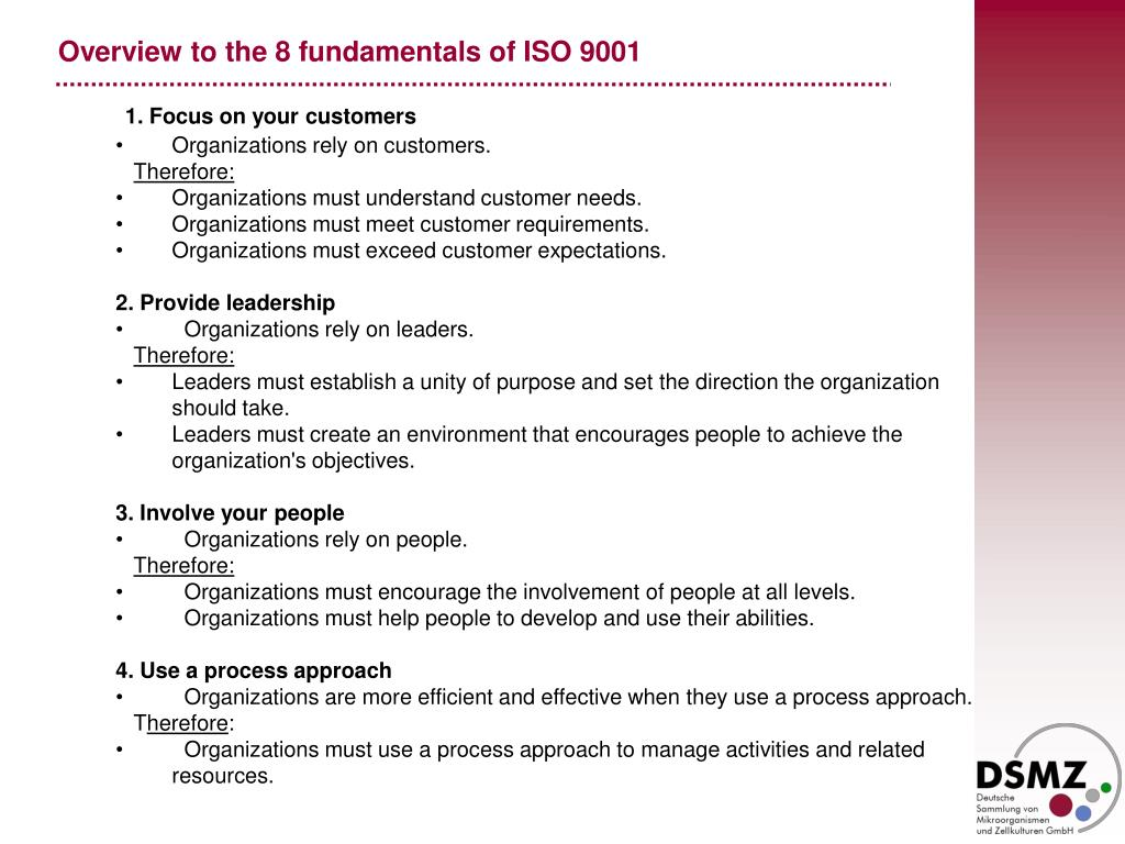 Overview to the 8 fundamentals of ISO 9001