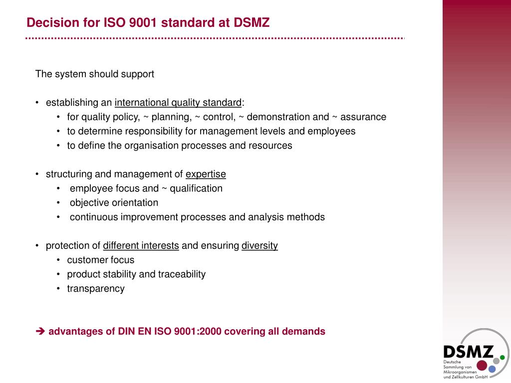 Decision for ISO 9001 standard at DSMZ