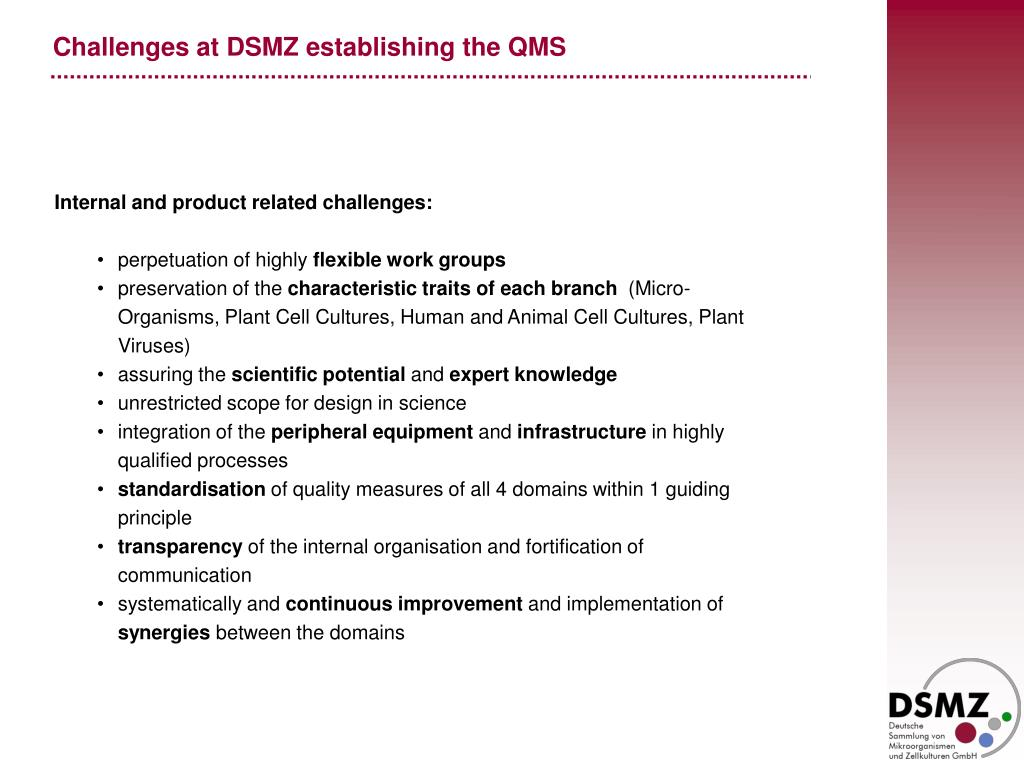 Challenges at DSMZ establishing the QMS