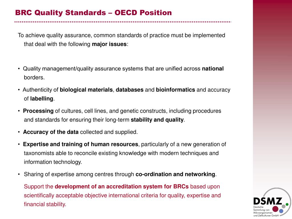 BRC Quality Standards – OECD Position