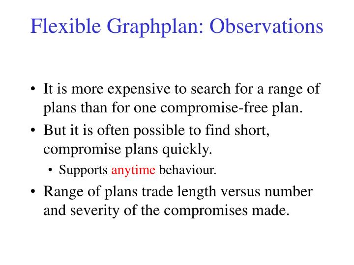 Flexible Graphplan: Observations