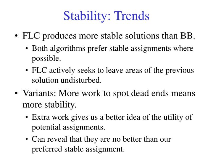 Stability: Trends