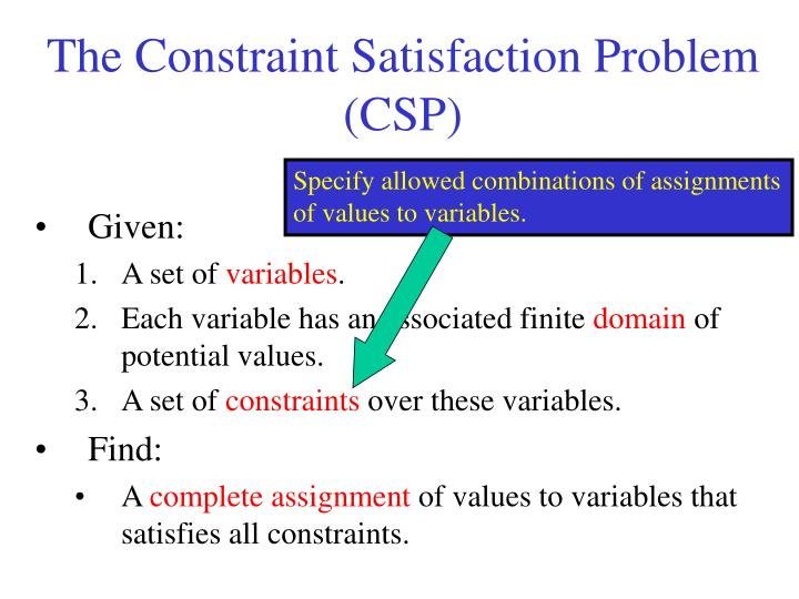 Specify allowed combinations of assignments