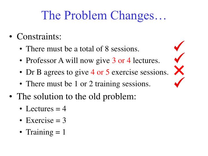 The Problem Changes…