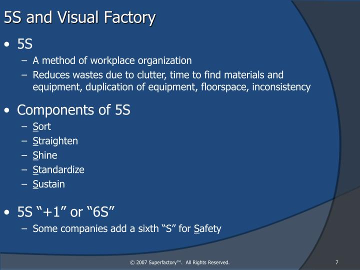 5S and Visual Factory