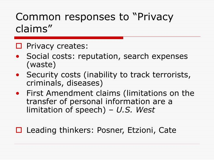 "Common responses to ""Privacy claims"""