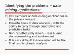identifying the problems data mining applications