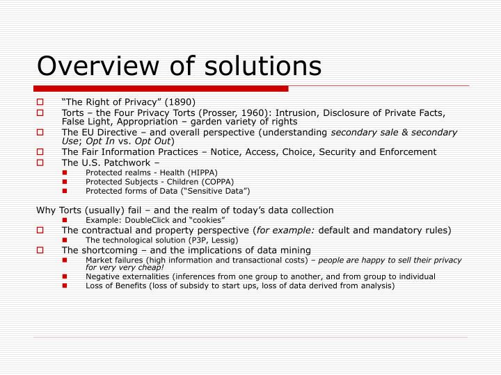 Overview of solutions