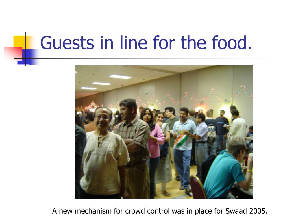 Guests in line for the food.