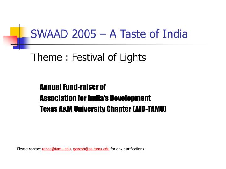 Swaad 2005 a taste of india