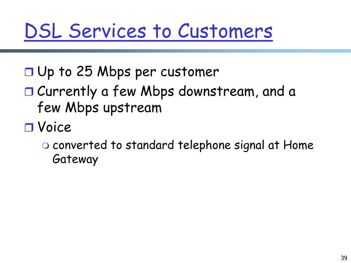 DSL Services to Customers