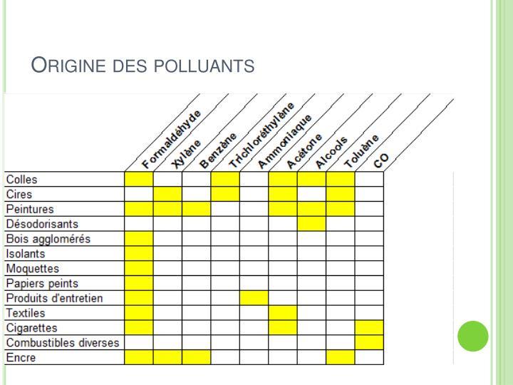 Origine des polluants