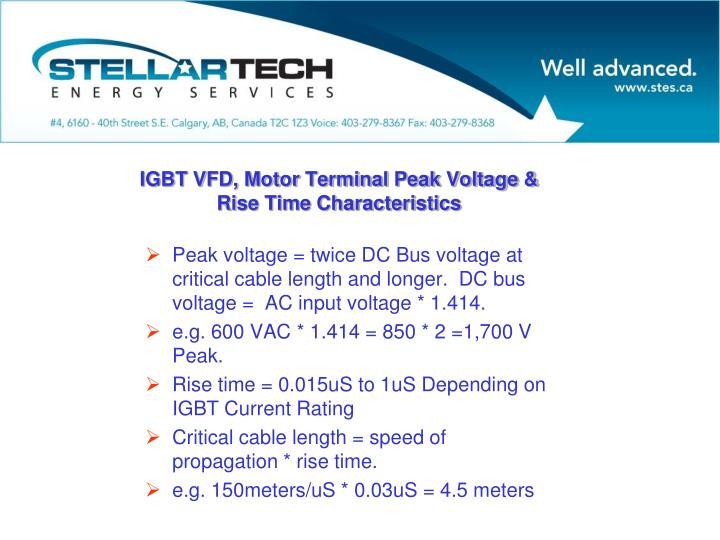 Peak voltage = twice DC Bus voltage at critical cable length and longer.  DC bus voltage =  AC input voltage * 1.414.