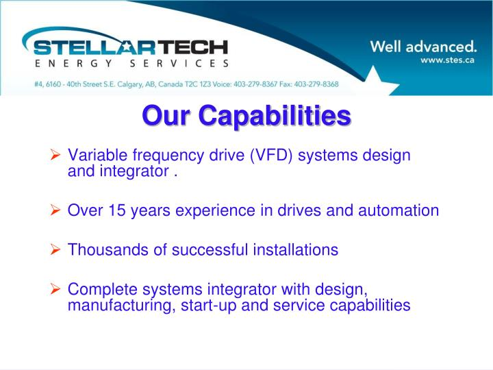Variable frequency drive (VFD) systems design and integrator .