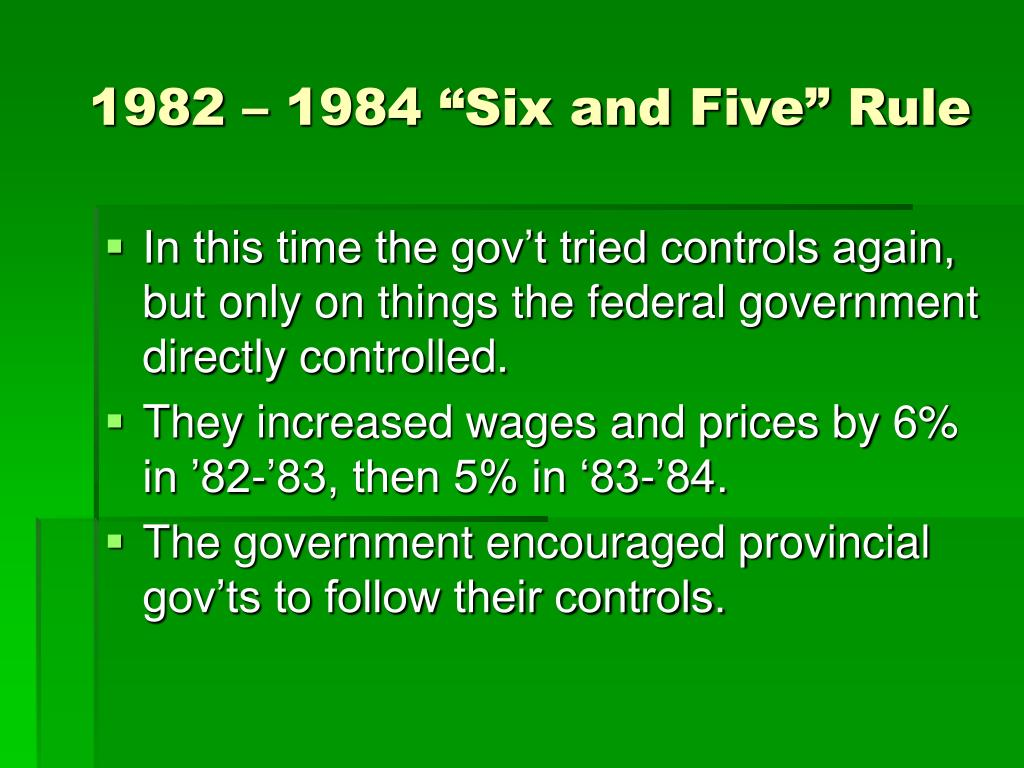 "1982 – 1984 ""Six and Five"" Rule"